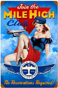 Mile High Club rusted steel sign  (pst 1812)